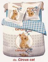 Completo lenzuola - copriletto. Singolo e Matrimoniale. MY COLORS - CIRCUS CAT.