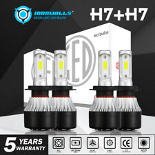 4x Combo H7+H7 396000LM LED Headlight Conversion Bulbs High Low Beam White 6000K