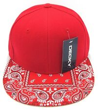 DECKY Red Snapback Cap Hat Paisley Bandana Flat Bill Visor Caps Hats NWT