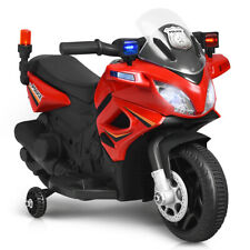 6V Kids Ride On Police Motorcycle 4-Wheel Electric Toy w/ Training Wheels Red