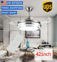 "42"" Invisible Ceiling Fan Light Dining Room Chandelier Lamp Remote Control LED"
