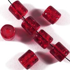 30 perles craquelées en verre Tubes 7 x 8 mm Rouge