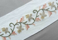 2 Yards. Wide, Hand Embroidered, Crewel Trim. Wool Embroidery on Cotton Duck