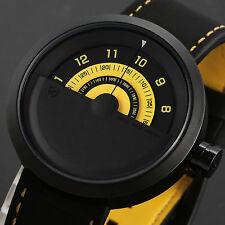 Bonnethead Shark Men's Fashion Black Leather Quartz Military Sport Watch+Box