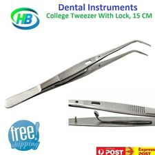 Dental Instruments College Tweezers With Lock Serrated Stainless Steel 15cm