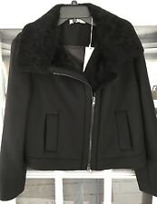 Vince Shearling Wool Jacket $750 SMALL Black 2017 Leather Moto Trim  Coat