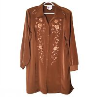 Maggie Sweet Floral Button Tunic Blouse Jacket Top Brown Sleek Embroidered L