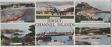 JERSEY, CHANNEL ISLANDS. UK. MULTI VIEW LONG VINTAGE REAL PHOTO POSTCARD PM 1958