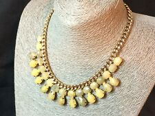 Statement Necklace Chunky Chain Faceted Cream/Yellow Black Collar Egypt Revival