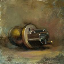 Door Knob  8x8 in. Oil on panel - Hall Groat II, American Artist
