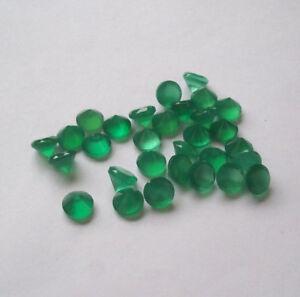 Stupefacente Lotto Verde Naturale Onice 4x4 MM Taglio Rotondo Sfaccettato Sfuso