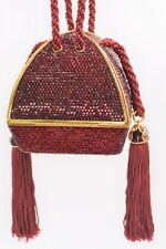 Judith Leiber Crystal Origami Red Crimson Gold Tone Tassel Evening Bag