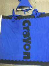 Homemade Crayon Halloween Costume Blue Ball hat Crayola size 10 12 boys girls