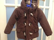 VGC JOHN LEWIS BOY DUFFLE WOOL BLEND QUILTED LINING BROWN COAT AGE 18-24 MONTHS