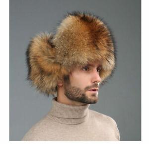 Mens Winter Real Fox Fur Russian Hat Trapper Ushanka Cossack Warm Ski Furry Caps