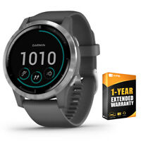 Garmin Vivoactive 4 Smartwatch Shadow Gray/Stainless + 1 Year Extended Warranty