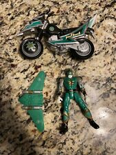 "Power Rangers Ninja Storm Green Ranger 5.5"" Action Figure & Tsunami Cycle 2002"