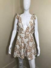 fecc87c4a41e Boohoo Women's Lace White & Beige Floral Summer Short Plundge Dress Size ...
