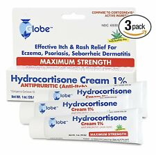3 Tubes of Hydrocortisone CREAM 1% 1 oz with ALOE