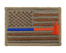 Blue & Red Thin Line Flag  Police Firefighter Hook & Loop Morale Tags Patch MULT