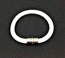Lederarmband, Ernstes Design, Weiß, 19 cm, Wechselhülse, Edelstahl + 750/-Gold