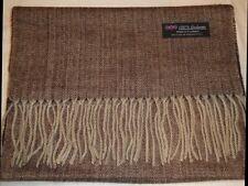 100% Cashmere Scarf Long 72X12 Brown Tweed Herringbone Scottish Wool Check Plaid