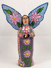 Mexican Paper Mache Angel Figurine Hand Made/Painted Folk Art Collectible Medium