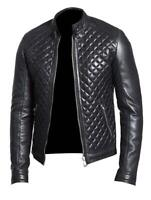 Noora New Men Real Lambskin Leather Jacket Black Napa Leather Modern Biker QD118