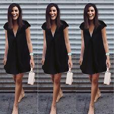 Plus Women Short Sleeve V-Neck Loose Chiffon T Shirt Top Blouse Beach Lady Dress