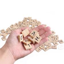 100 PCs Black Letters & Numbers Wooden Alphabet Scrabble Tiles For Crafts Wood