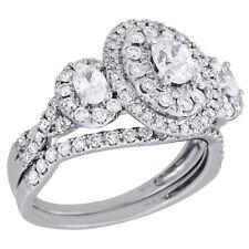 14K White Gold Three Stone Diamond Bridal Set Engagement + Wedding Rings 1.5 Ct