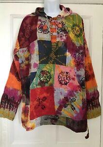 GRINGO Tie Dye Multi Coloured Cotton Kangaroo Pocket Hooded Top HIPPY SIZE L