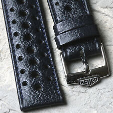 Heuer Camaro dark blue textured 1960/70s racing strap 19mm with Heuer buckle