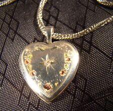 "Sterling Silver Genuine Diamond Victorian Style Heart Locket 18"" Necklace"