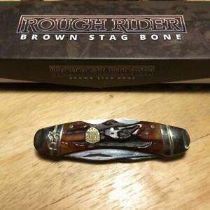"Rough Rider Brown Stag Bone Double Lock 3 1/4"" Pocket Knife  RR1798"