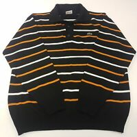 Lacoste Mens  Jumper XL  Black Cotton Pullover Sweater Knit Collared