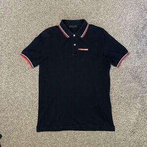 Mens Prada Short Sleeve Polo Shirt Black Size Medium