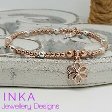 Inka Sterling Silver & Rose Gold  3mm bead Stacking Bracelet with Daisy charm