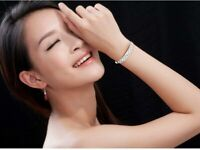 Chain Cuff Jewelry Bracelet Women 925 Silver Bangle Crystal Charm Gift