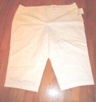 NEW Women's Croft Barrow White Capri Cropped Stretch Pants Size 24 46 x 18
