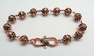 "1 Piece Bracelets Chain Copper Beads Beaded Link Bracelet 7.5"" Long Handmade"