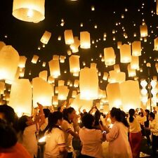 50X WhiteColor Paper Chinese Lanterns Sky Fly Candle Lamp for Wish Wedding Party