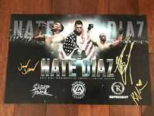 NATE DIAZ JAKE SHIELDS SIGNED 11 X 17 REPRESENT POSTER UFC AUTOGRAPH SKRAP PACK