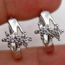 18K White Gold Filled - Zircon Gemstone Hollow Star Cross Flower Party Earrings