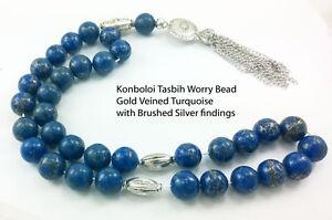 Tasbih Worry Bead Komboloi Gold Veined Turquoise 12mm x 33Beads