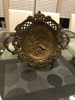 Vintage Brass Castilian Imports Ornate Tray 14 X 12 w/ Handles Footed + Stand