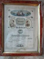 Rare COLOR Framed Antique Victorian Wedding Marriage License, Gilbert, Haverhill
