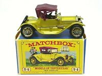 Matchbox Lesney Y6-3 1913 Cadillac In Type E1 'NEW MODEL' Box (NO BODY CUT OUTS)
