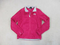 The North Face Sweater Womens Small Pink Gray Full Zip Fuzzy Fleece Ladies B29