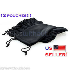 (12) NYLON SUNGLASS/EYEGLASS POUCH Soft Case WHOLESALE